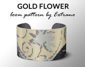 Bead Loom Pattern, Loom Tutorial, Beading Pattern, Loom Beading Pattern, Bracelet Tutorial, Bracelet Pattern, Loom Pattern - GOLD FLOWER
