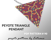 Peyote triangle patterns with instruction, peyote triangle instruction, triangle peyote pattern, native stitch, triangle peyote pendant #90