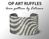 Bead Loom Pattern, Loom Tutorial, Beading Pattern, Loom Beading Pattern, Bracelet Tutorial, Bracelet Pattern, Loom Pattern - OP-ART RUFFLES