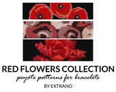 Peyote bracelet patterns, even peyote pattern with flowers, nature peyote pattern, native american peyote pattern RED FLOWERS COLLECTION