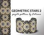 Beading pattern, pattern for bracelet, peyote pattern, peyote bracelet, bracelet pattern, peyote native, uneven peyote - GEOMETRIC STARS 2