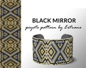 bracelet design, odd count peyote, pdf pattern, bracelet peyote, peyote pattern, native american jewelry, huichol bracelet - BLACK MIRROR