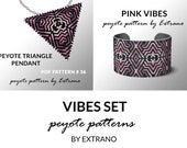 Peyote set, bracelet with pendant pattern, peyote set, uneven peyote pattern, triangle peyote pattern, pattern for beaded set PINK VIBES