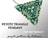 Peyote triangle pattern with instruction, peyote triangle instruction, triangle peyote pattern, native stitch, triangle peyote pendant #7