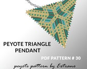 Peyote triangle pattern with instruction, peyote triangle instruction, triangle peyote pattern, native stitch, triangle peyote pendant #30