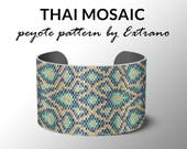 Peyote bracelet pattern, wide cuff pattern, uneven peyote stitch, peyote pattern, DIY jewelry - THAI MOSAIC - 4 colors - Instant download