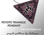Peyote triangle pattern with instruction, peyote triangle instruction, triangle peyote pattern, native stitch, triangle peyote pendant #36
