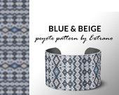 Peyote bracelet pattern, native peyote pattern,  native american, even peyote pattern, native stitch pattern, beaded bracelet BLUE & BEIGE