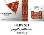 Bracelet with pendant pattern, peyote tutorial, uneven peyote pattern, triangle peyote pattern, pattern for beaded set FIERY set