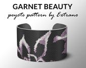 Peyote Bracelet Patterns by Extrano - GARNET BEAUTY - 4 colors ONLY - Instant download
