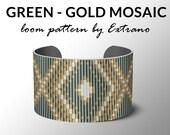 Bead Loom Pattern, Loom Tutorial, Loom Beading Pattern, Geometric Loom Pattern, Bracelet Pattern, Loom Pattern - GREEN-GOLD MOSAIC