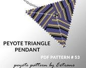 Peyote triangle pattern with instruction, peyote triangle instruction, triangle peyote pattern, native stitch, triangle peyote pendant #53