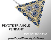 Peyote triangle patterns with instruction, peyote triangle instruction, triangle peyote pattern, native stitch, triangle peyote pendant #14