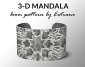 Bead Loom Pattern, Loom Tutorial, Beading Pattern, Loom Beading Pattern, Bracelet Tutorial, Bracelet Pattern, loom -  3-Drop GREY MANDALA