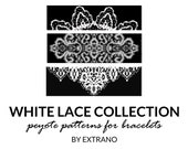 Peyote bracelet patterns, even peyote pattern, mosaic peyote pattern, native american peyote pattern bracelet tutorial WHITE LACE COLLECTION
