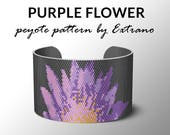 Peyote Bracelet Patterns by Extrano - Purple Flower on Black - 5 colors ONLY - Instant download