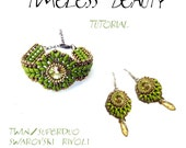 TUTORIAL - Bracelet Earrings Twin Superduo Rivoli - TIMELESS BEAUTY - immediate download