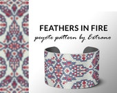 bracelet design, odd count peyote, pdf pattern, bracelet peyote, peyote pattern, native american jewelry, huichol bracelet FEATHERS IN FIRE