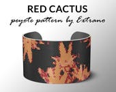 Peyote bracelet pattern, wide cuff pattern, even peyote stitch, peyote pattern, DIY jewelry - RED CACTUS - 4 colors only - Instant download