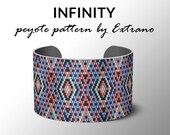 Peyote bracelet pattern, wide cuff pattern, uneven peyote stitch, peyote pattern, DIY jewelry - INFINITY - 4 colors ONLY - Instant download