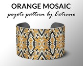 Peyote bracelet pattern, pattern for bracelet, peyote pattern, peyote bracelet, bracelet pattern, peyote native, uneven peyote ORANGE MOSAIC