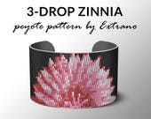 3-drop Even peyote pattern Peyote pattern, bracelet pattern, peyote bracelet, even peyote stitch - ZINNIA - 6 colors only - Instant download