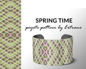 Peyote bracelet pattern, native peyote pattern,  native american, even peyote pattern, native stitch pattern, beaded bracelet SPRING TIME