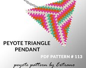 Triangle peyote pattern, peyote triangle pattern with instruction, peyote triangle how to, native stitch, red triangle peyote pendant #113