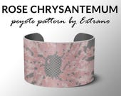 Peyote bracelet pattern, even pattern, even peyote stitch, peyote pattern, DIY jewelry - ROSE CHRYSANTEMUM - 4 colors only, Instant download