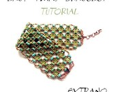 Bracelet tutorial, bracelet pattern, Superduo bracelet, superduo tutorial, DIY jewelry, wide cuff pattern, beading tutorial - LACY TWINS