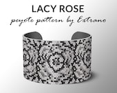 Peyote bracelet pattern, wide cuff pattern, uneven peyote stitch, peyote pattern, DIY jewelry - LACY ROSE - 4 colors - Instant download pdf