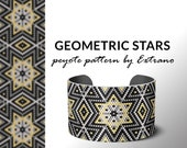 Beading pattern, pattern for bracelet, peyote pattern, peyote bracelet, bracelet pattern, peyote native, uneven peyote - GEOMETRIC STARS