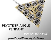 Peyote triangle pattern with instruction, peyote triangle instruction, triangle peyote pattern, native stitch, triangle peyote pendant #13