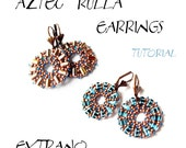 Round earrings tutorial, beaded earrings tutorial, seed beads earrings, beaded medallion, earrings pattern, round earrings - AZTEC RULLA