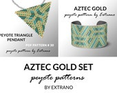 Bracelet with pendant pattern, peyote tutorial, uneven peyote pattern, triangle peyote pattern, pattern for beaded set AZTEC GOLD peyote set