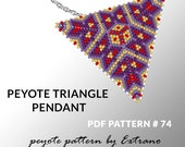 Peyote triangle pattern with instruction, peyote triangle instruction, triangle peyote pattern, native stitch, red triangle pendant #74