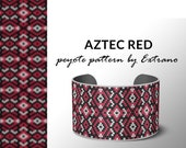 Beading pattern, pattern for bracelet, peyote pattern, peyote bracelet, bracelet pattern, peyote native, uneven peyote - AZTEC RED pattern