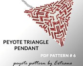 Peyote triangle pattern with instruction, peyote triangle instruction, triangle peyote pattern, native stitch, triangle peyote pendant #6