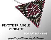 Peyote triangle pattern with instruction, peyote triangle instruction, triangle peyote pattern, native stitch, triangle peyote pendant #88