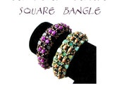 Bracelet tutorial, bangle pattern, bracelet pattern, Tila bracelet, Tila beads tutorial, DIY jewelry, beading tutorial - SQUARE BANGLE