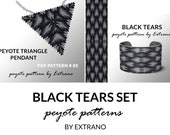Bracelet with pendant pattern, peyote tutorial, uneven peyote pattern, commemorative jewelry, pattern for beaded set BLACK TEARS set