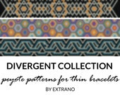 Peyote bracelet patterns, thin bracelet patterns, uneven peyote stitch, peyote pattern, native american bracelets DIVERGENT COLLECTION