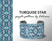 Peyote bracelet pattern, native peyote pattern,  native american, even peyote pattern, native stitch pattern, beaded bracelet TURQUISE STAR