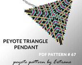 Peyote triangle pattern with instruction, peyote triangle instruction, triangle peyote pattern, native stitch, triangle peyote pendant #67