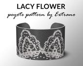 Peyote pattern, bracelet pattern, peyote bracelet, even peyote stitch pattern, delica pattern, 3 colors, PDF, instant download - LACY FLOWER