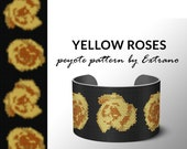 Bracelet peyote pattern, peyote bracelet, even peyote stitch pattern, delica pattern - YELLOW ROSES even floral bracelet pattern