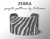 Peyote bracelet pattern, wide cuff pattern, even peyote stitch, peyote pattern, DIY jewelry - ZEBRA STRIPES - 2 colors - Instant download