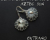Rivoli earrings tutorial, aztec earrings, fan shaped jewelry, fan earrings pattern, rivoli pattern, round earrings, beaded fans - AZTEC SUN