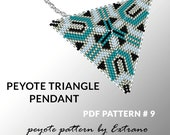 Peyote triangle pattern with instruction, peyote triangle instruction, triangle peyote pattern, native stitch, triangle peyote pendant #9