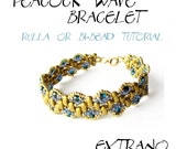 Bracelet tutorial, bracelet pattern, seed beads pattern, rulla beads, bracelet tutorial, wide cuff pattern, beading tutorial, PEACOCK WEAVES
